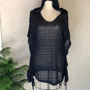 Roxy stretch lace swim cover up hooded ruch sides
